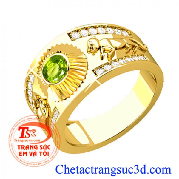 Nhẫn nam tuổi tuất, Nhẫn vàng gắn đá peridot thiên nhiên, cho người tuổi tuất(Chó)
