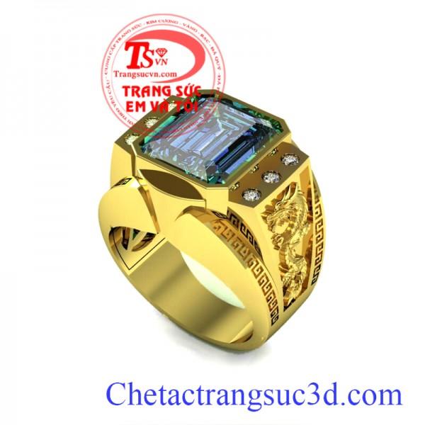 Nhẫn nam topaz đẹp, Nhẫn vàng tây topaz, thiết kế nhẫn nam