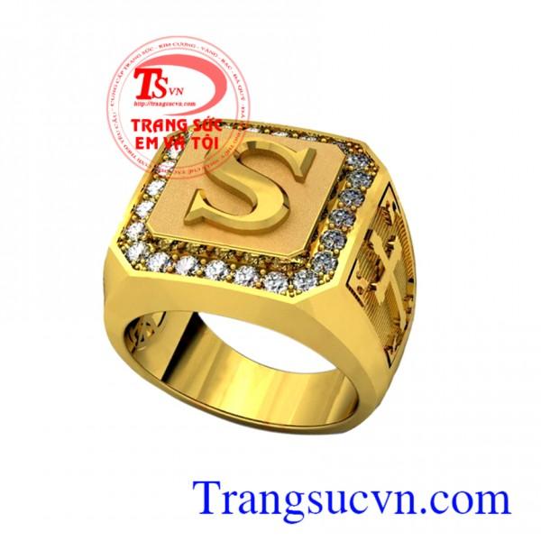Nhẫn nam vàng chữ cái S