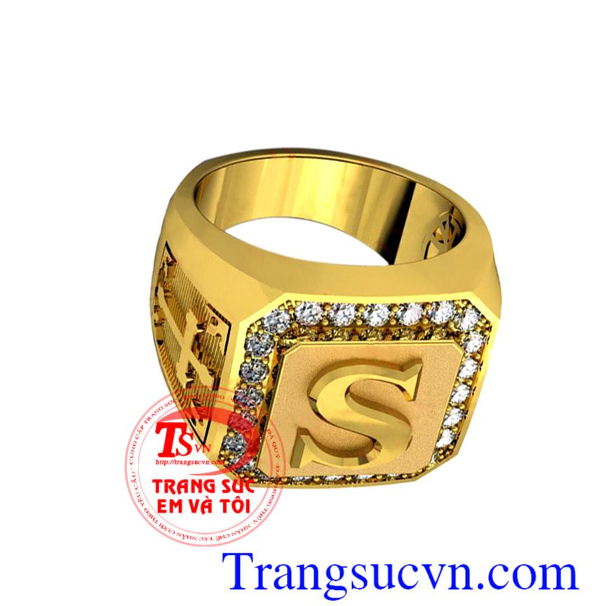 Nhẫn nam vàng chữ cái, Nhẫn nam đẹp, nhẫn vàng tây nam