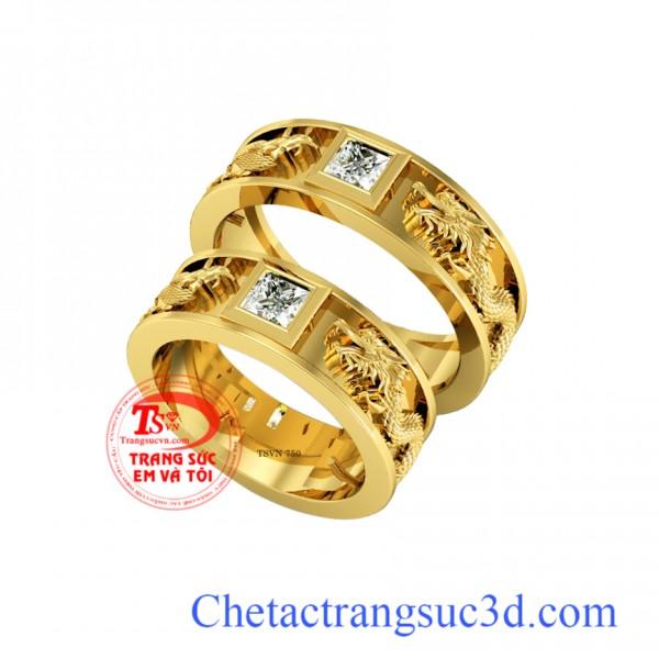 Nhẫn cưới rồng phượng kim cương, nhẫn cưới đẹp