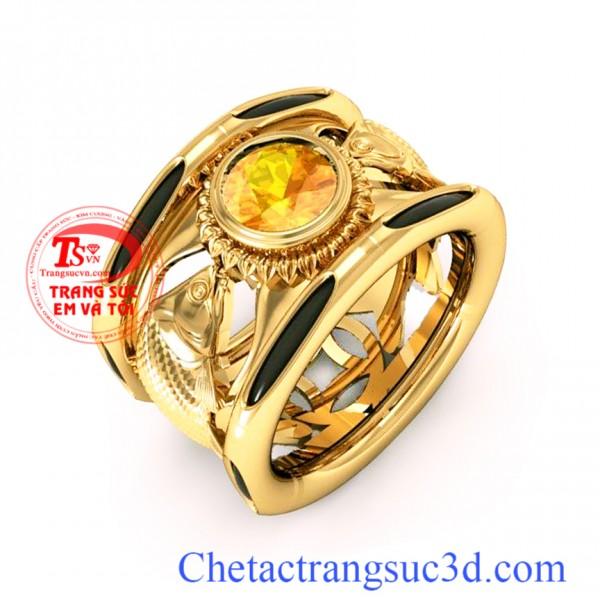 Nhẫn lông đuôi voi vàng, nhẫn vàng 18k, thiết kế nhẫn 3D,nhẫn sapphire vàn