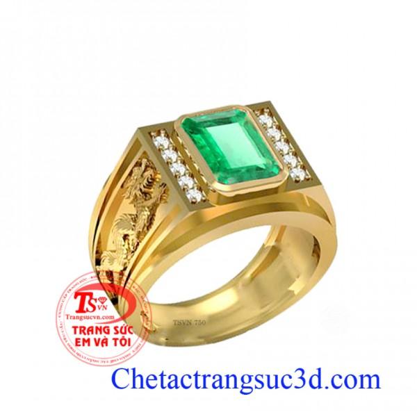 Nhẫn nam emerald, nhẫn vàng ngọc lục bảo,nhẫn nam 3d, nhẫn nam mệnh hỏa