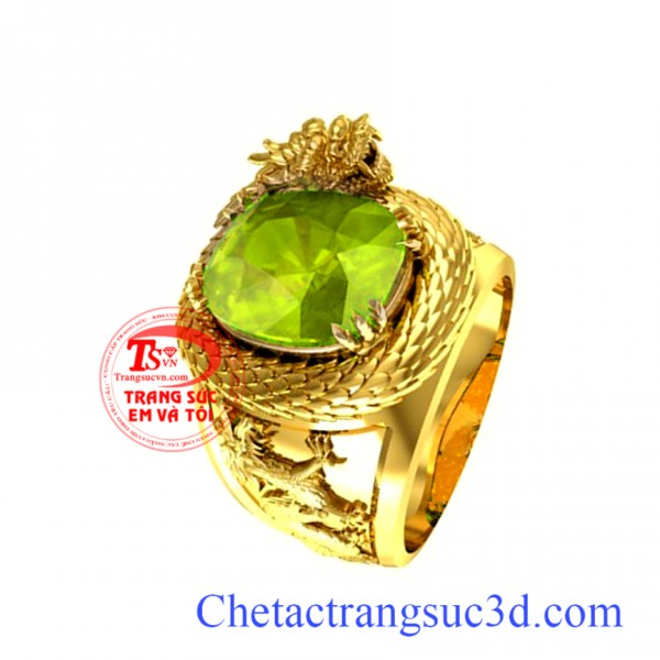 Nhẫn nam peridot,Nhẫn rồng vàng peridot,Nhẫn nam đá quý,thiết kế nhẫn nam 3d, nhẫn nam đẹp