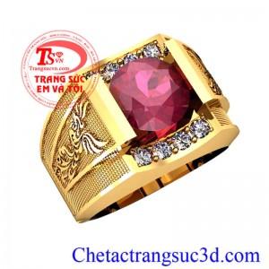 Nhẫn nam phượng hoàng ruby, nhẫn nam vàng 18k,thiết kế nhãn nam
