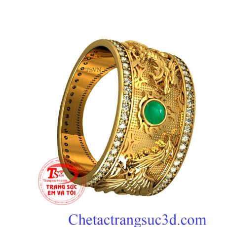 Nhẫn nam rồng phượng đẹp,nhẫn nam đep, nhẫn nam vàng 18k, nhẫn nam emerald,thiết kế 3D