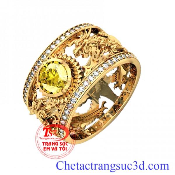 Nhẫn nam rồng vàng sapphire, nhẫn nam vàng tây 18k, nẫn nam đẹp
