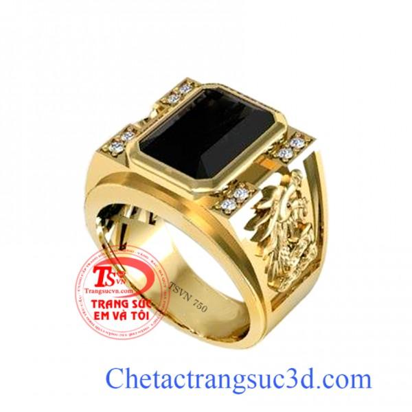 Nhẫn nam sapphire đen,nhẫn nam vàng 18k, nhẫn nam đẹp, thiết kế nhẫn nam 3d