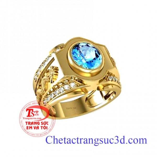 nhẫn nam topaz,nhẫn vàng đá topaz,nhẫn nam mệnh thủy,nhẫn mệnh mộc,thiết kế nhẫn nam 3d