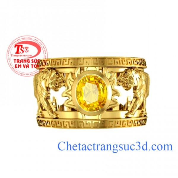Nhẫn nam tuổi hổ,nhẫn nam sapphire vàng, nhẫn nam vàng 18k, thiết kế nhẫn nam 3d