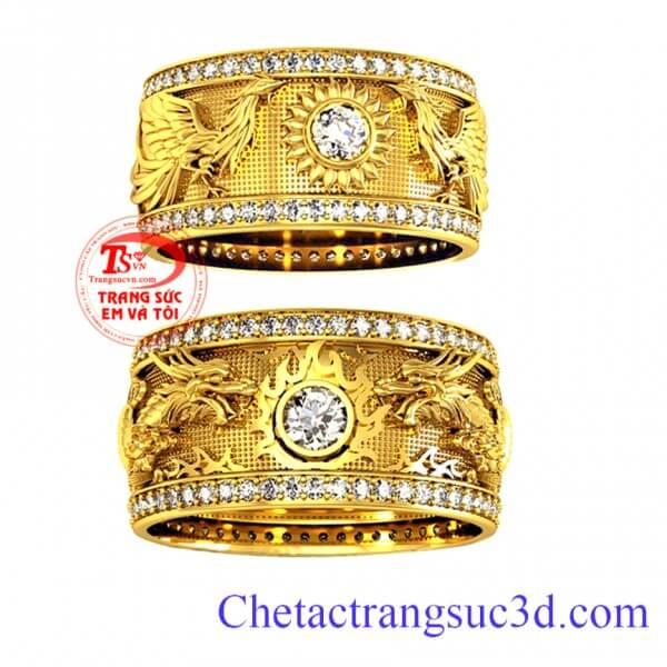 Nhẫn cưới rồng phượng, nhẫn cưới đẹp, thiết kế nhẫn cưới theo yêu cầu, https://chetactrangsuc3d.com