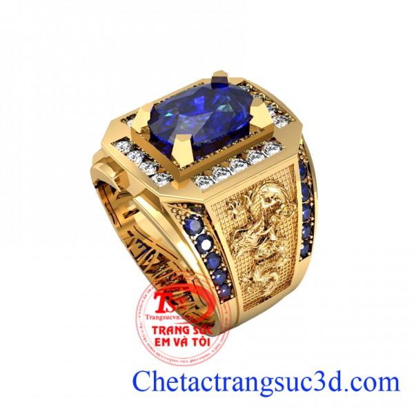 Nhan nam saphire lam,nhẫn vàng 18k đẹp, nhẫn nam rồng phượng, thiết kế nhẫn nam theo yêu cầu, nhan nam 3d