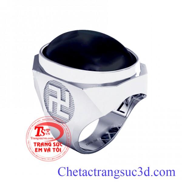 Nhẫn nam vàng trắng, nhẫn nam chữ vạn, nhẫn vàng 18k