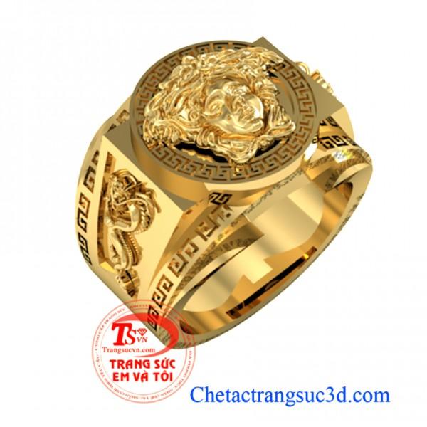 Nhẫn nam versace vàng 18k gắn đá quý và kim cương đảm bảo nhẫn versace nam Uy tín nhiều năm khách hàng bình chọn, nhẫn vàng versace hàng hiệu và sành điệu