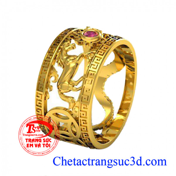 Nhẫn nam vàng tuổi Tỵ và Ngọ, Nhẫn nam vàng 18k, Nhẫn nam đá ruby, Thiết kế nhẫn 3D