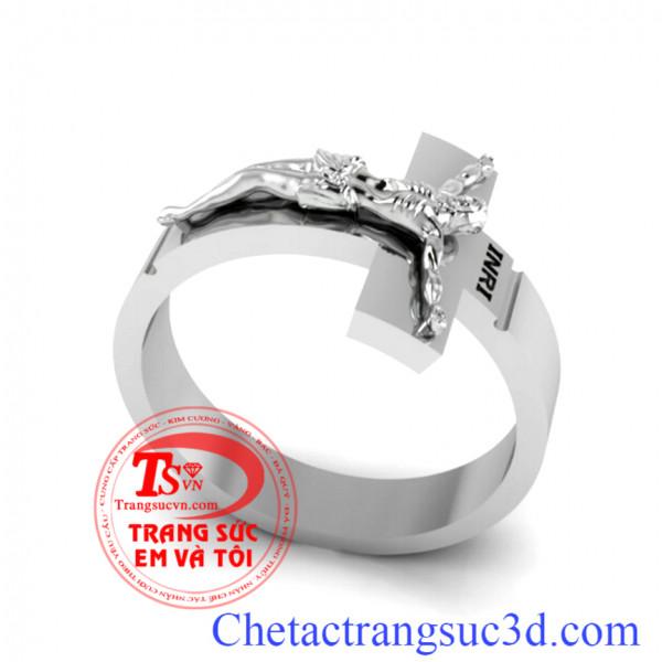 Nhẫn thánh giá, Nhẫn thánh giá vàng trắng, Thiết kế nhẫn công giáo theo yêu cầu, đặt nhẫn thánh giá