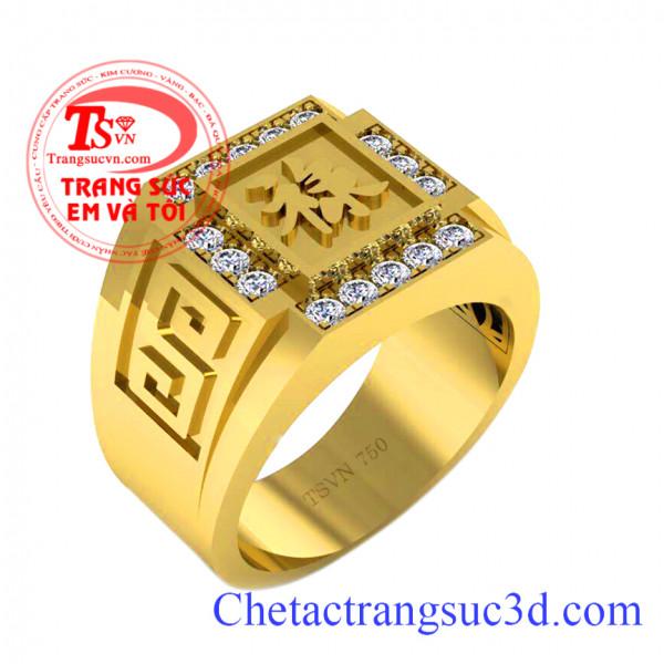 Nhẫn nam vàng 18k chữ phúc, Nhẫn nam đẹp