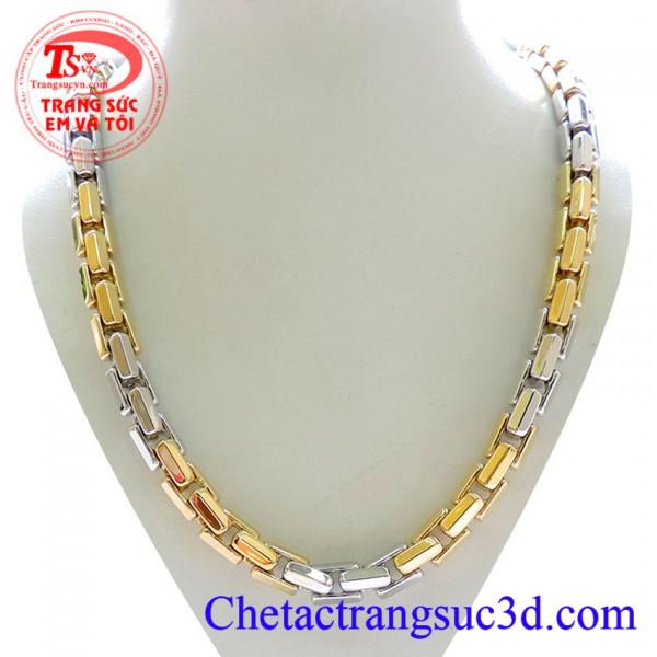 Chiếc Vòng cổ vàng 18k italy, Dây chuyền vàng 18k hai màu, Vàng trắng kết hợp xen kẽ với vàng màu vàng tạo nên sự nổi bật cho người đeo dây chuyền vàng 18k to Gọi ngay: 0914951535