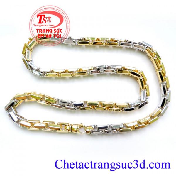 Chiếc Vòng cổ vàng 18k italy, Dây chuyền vàng 18k hai màu, Vàng trắng kết hợp xen kẽ với vàng màu vàng tạo nên sự nổi bật cho người đeo dây chuyền vàng 18k to