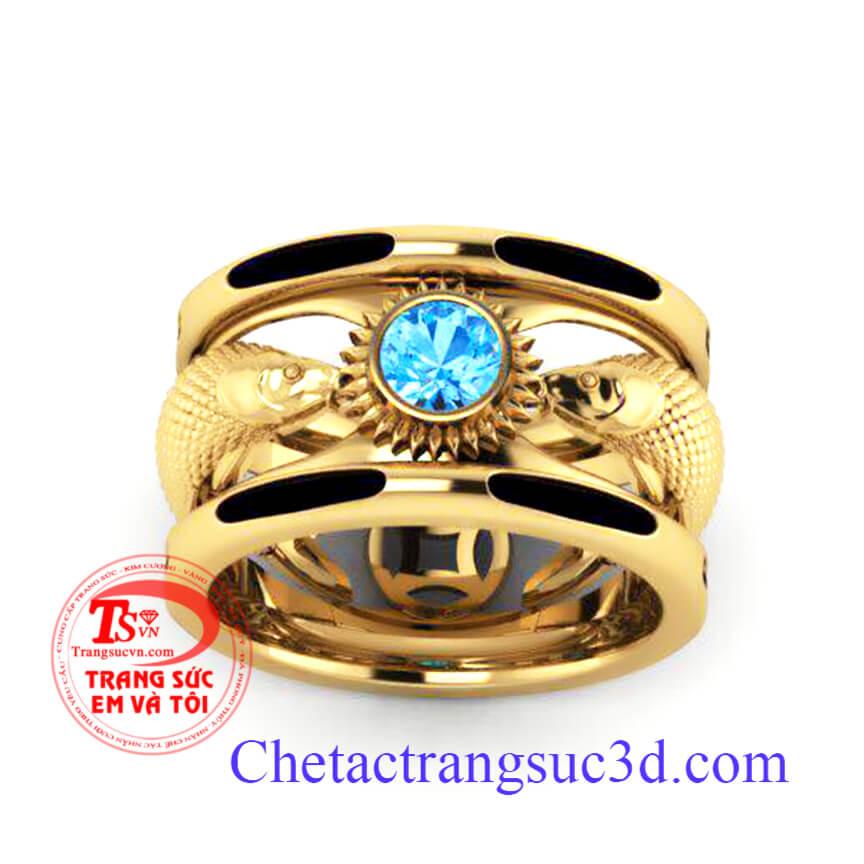 Nhẫn nam gắn đá Topaz xanh nước biển sẽ là điểm nhấn cho người đeo Mệnh Thủy và là chiếc Nhẫn nam vàng 18k mệnh thủy tương sinh cho người mệnh Mộc