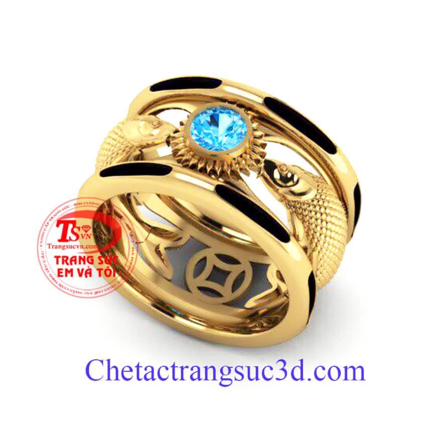 Chiếc nhẫn nam vàng 18k có hai sợi lông đuôi voi theo quan niệm sẽ đem may mắn đến cho người đeo
