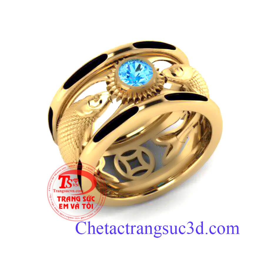 Nhẫn nam vàng 18k mệnh thủy với thiết kế và chế tác 3D theo yêu cầu.